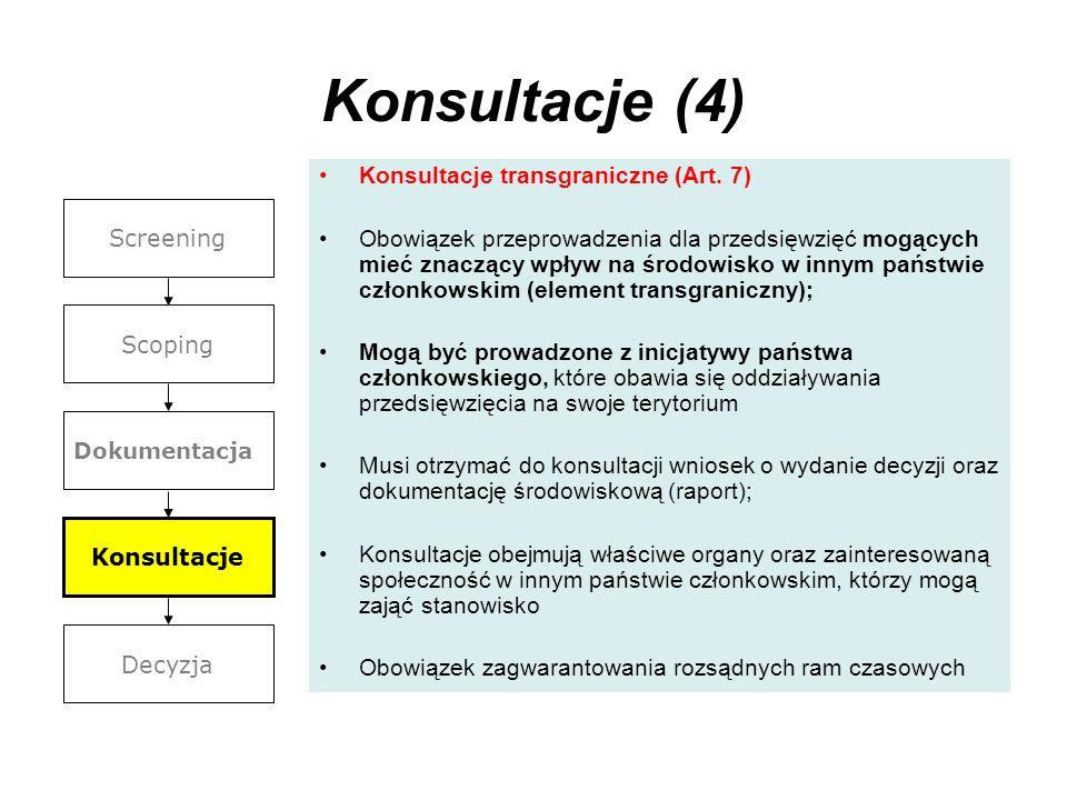 Konsultacje (4) Konsultacje transgraniczne (Art. 7)