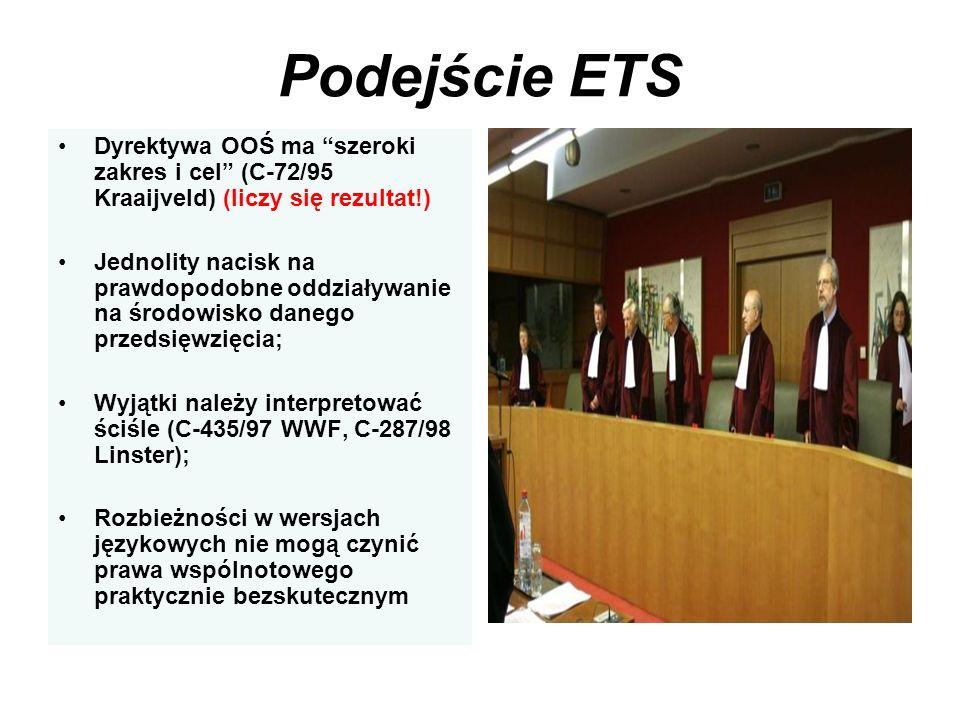 Podejście ETS Dyrektywa OOŚ ma szeroki zakres i cel (C-72/95 Kraaijveld) (liczy się rezultat!)