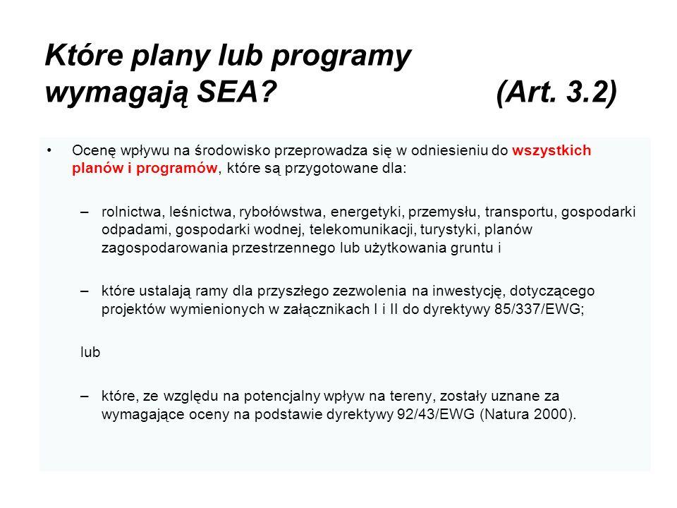 Które plany lub programy wymagają SEA (Art. 3.2)