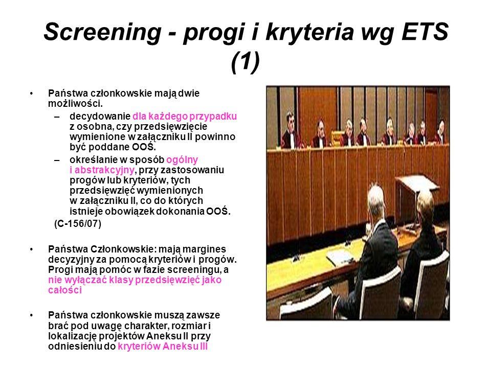 Screening - progi i kryteria wg ETS (1)