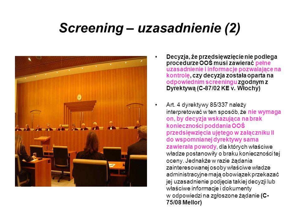 Screening – uzasadnienie (2)