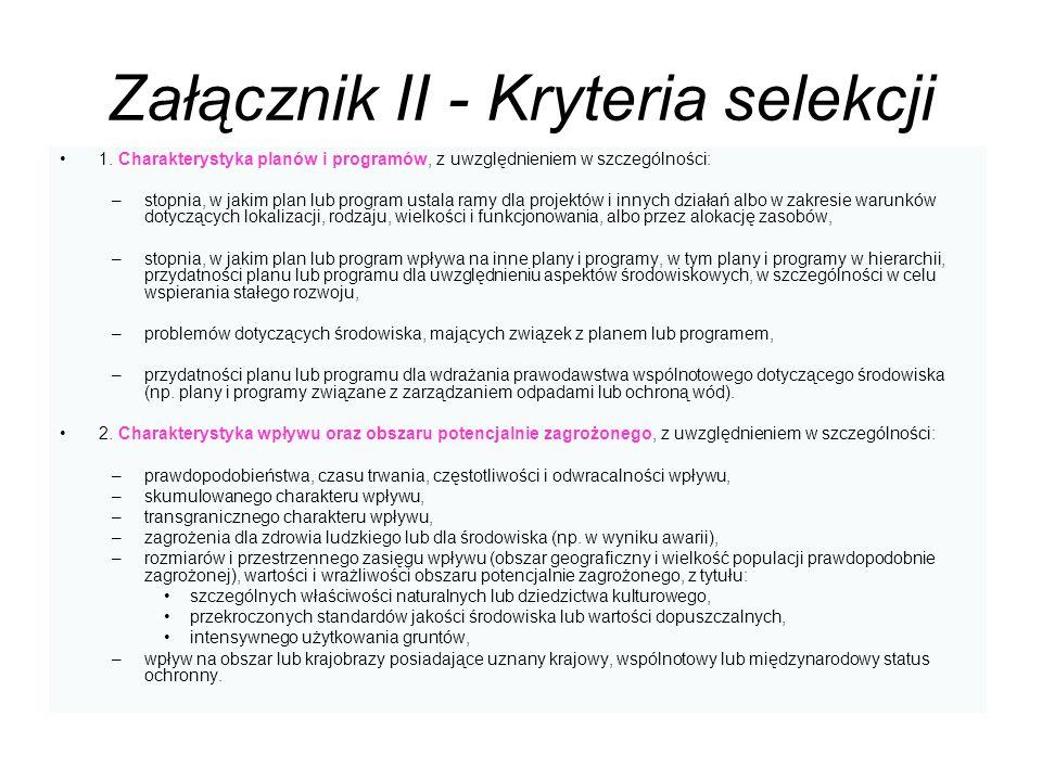 Załącznik II - Kryteria selekcji