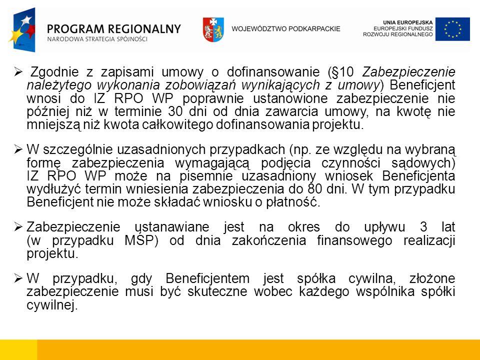 Zgodnie z zapisami umowy o dofinansowanie (§10 Zabezpieczenie należytego wykonania zobowiązań wynikających z umowy) Beneficjent wnosi do IZ RPO WP poprawnie ustanowione zabezpieczenie nie później niż w terminie 30 dni od dnia zawarcia umowy, na kwotę nie mniejszą niż kwota całkowitego dofinansowania projektu.