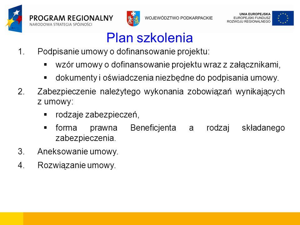 Plan szkolenia Podpisanie umowy o dofinansowanie projektu: