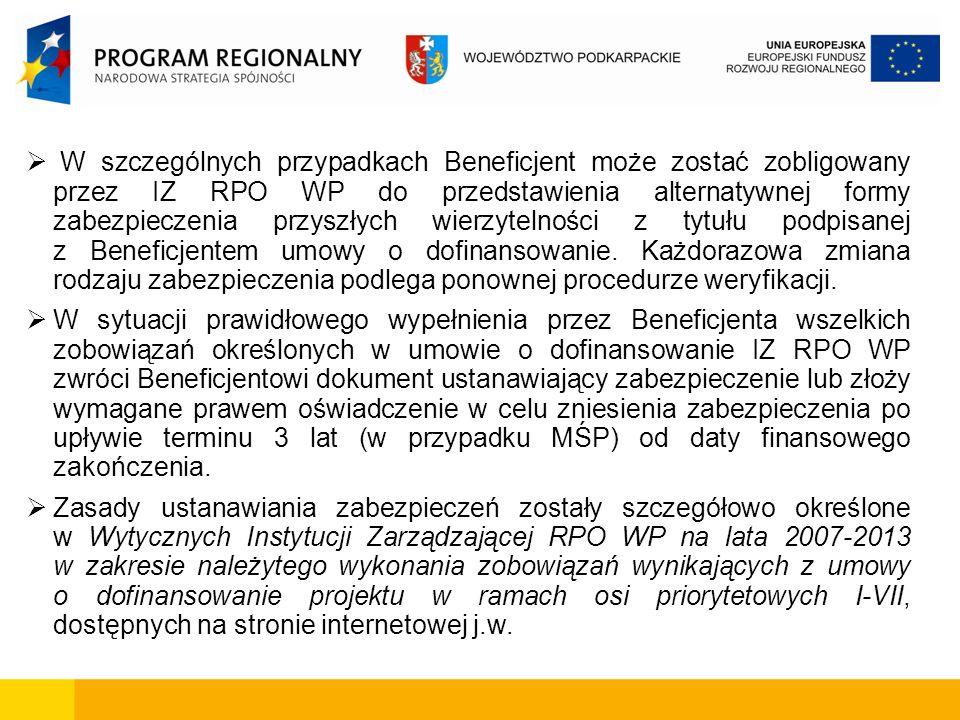 W szczególnych przypadkach Beneficjent może zostać zobligowany przez IZ RPO WP do przedstawienia alternatywnej formy zabezpieczenia przyszłych wierzytelności z tytułu podpisanej z Beneficjentem umowy o dofinansowanie. Każdorazowa zmiana rodzaju zabezpieczenia podlega ponownej procedurze weryfikacji. yfikacji