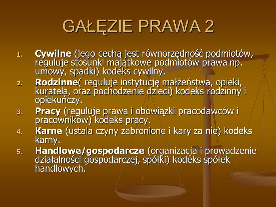 GAŁĘZIE PRAWA 2 Cywilne (jego cechą jest równorzędność podmiotów, reguluje stosunki majątkowe podmiotów prawa np. umowy, spadki) kodeks cywilny.
