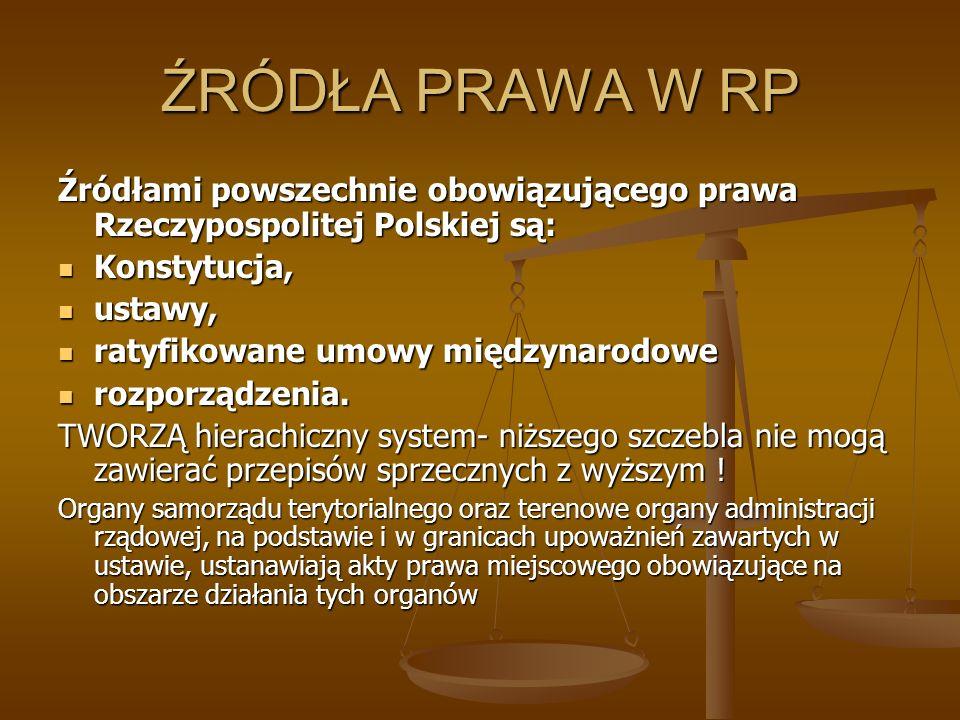 ŹRÓDŁA PRAWA W RP Źródłami powszechnie obowiązującego prawa Rzeczypospolitej Polskiej są: Konstytucja,