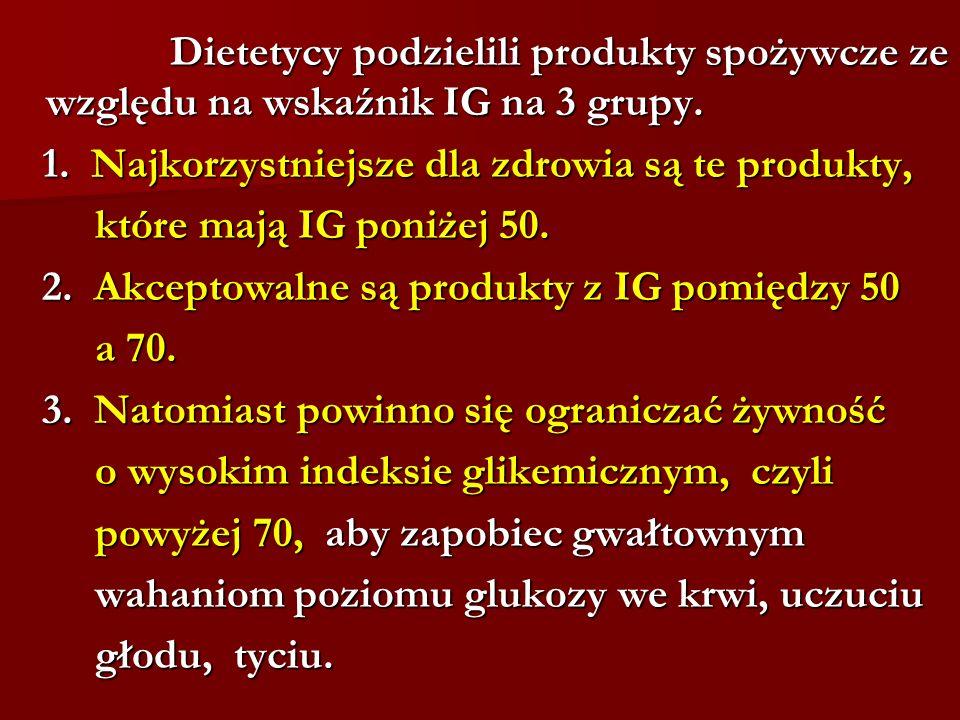 Dietetycy podzielili produkty spożywcze ze względu na wskaźnik IG na 3 grupy.
