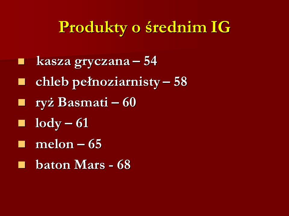 Produkty o średnim IG chleb pełnoziarnisty – 58 ryż Basmati – 60