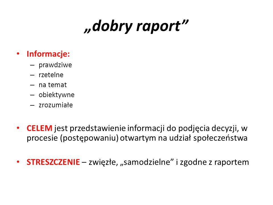 """""""dobry raport Informacje:"""