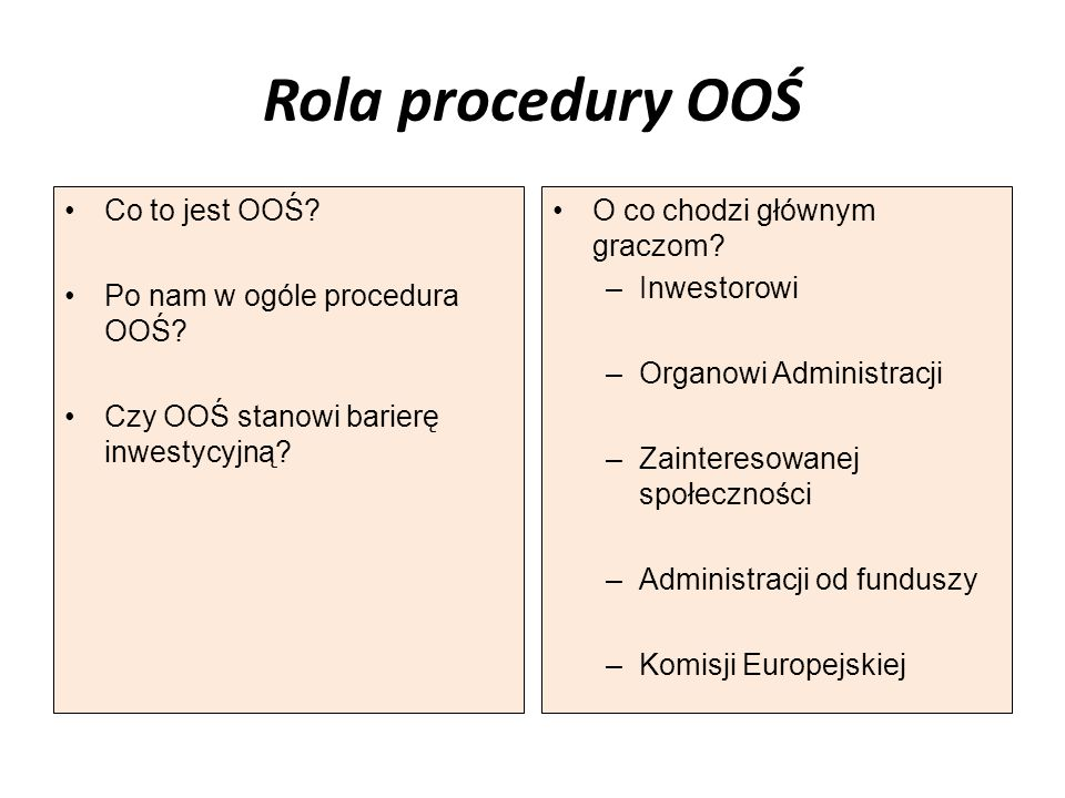 Rola procedury OOŚ Co to jest OOŚ Po nam w ogóle procedura OOŚ