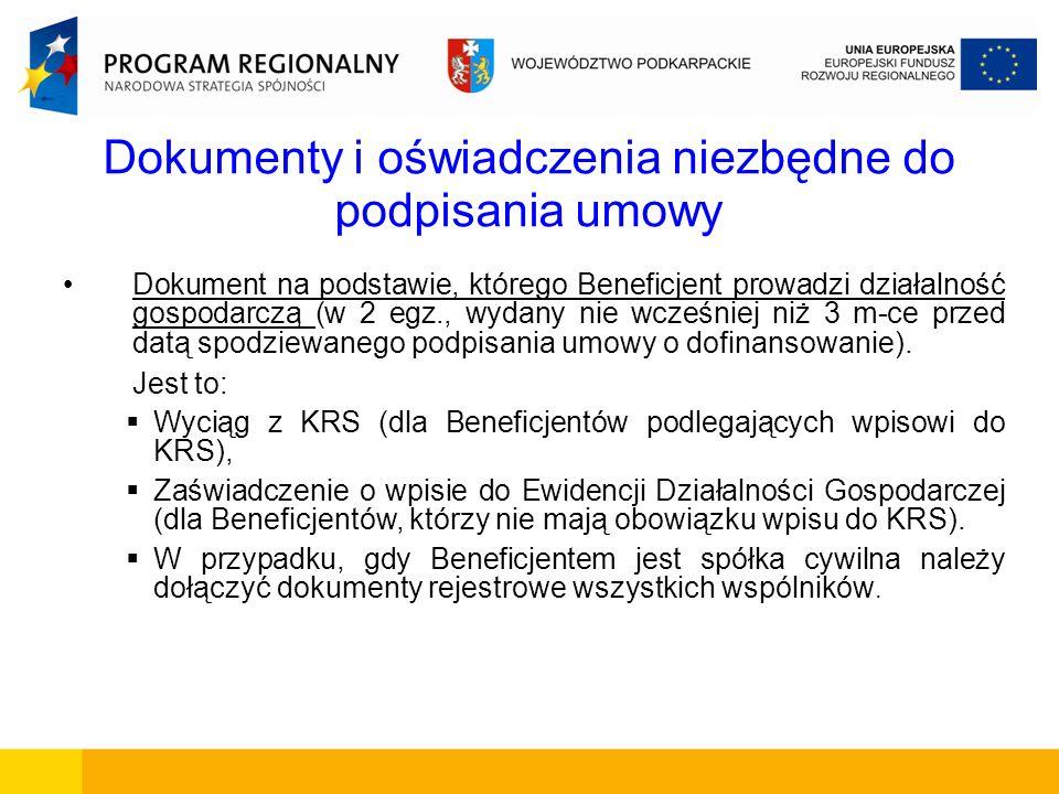 Dokumenty i oświadczenia niezbędne do podpisania umowy