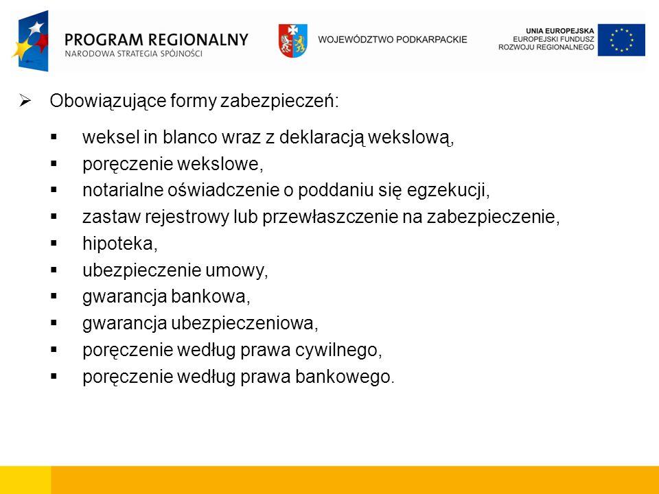 Obowiązujące formy zabezpieczeń: