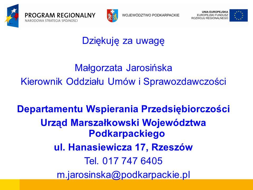 Małgorzata Jarosińska Kierownik Oddziału Umów i Sprawozdawczości