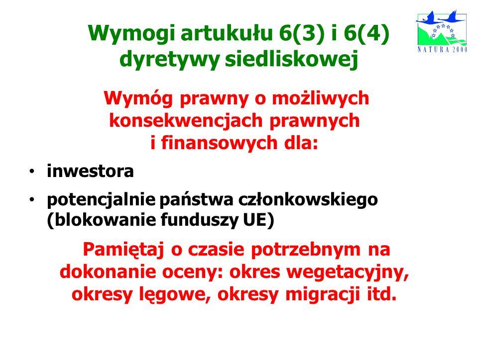 Wymogi artukułu 6(3) i 6(4) dyretywy siedliskowej