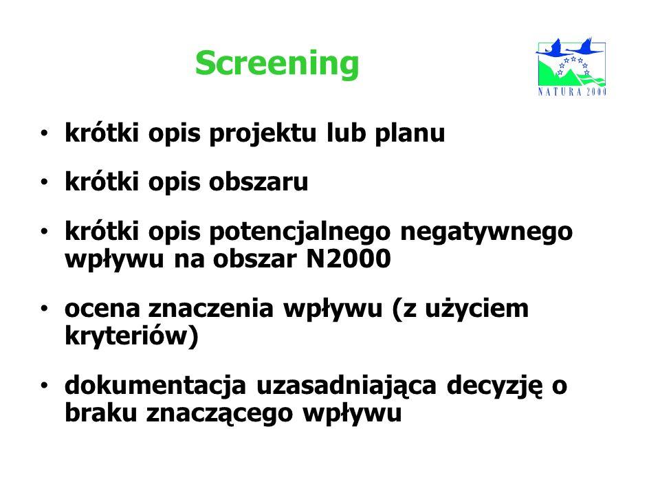 Screening krótki opis projektu lub planu krótki opis obszaru