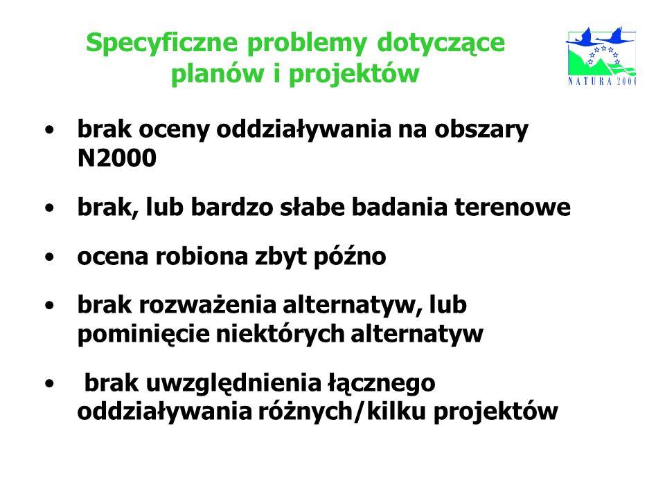 Specyficzne problemy dotyczące planów i projektów