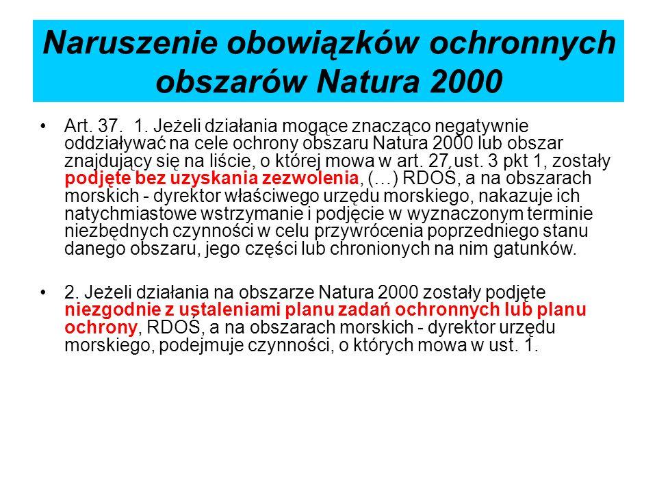 Naruszenie obowiązków ochronnych obszarów Natura 2000