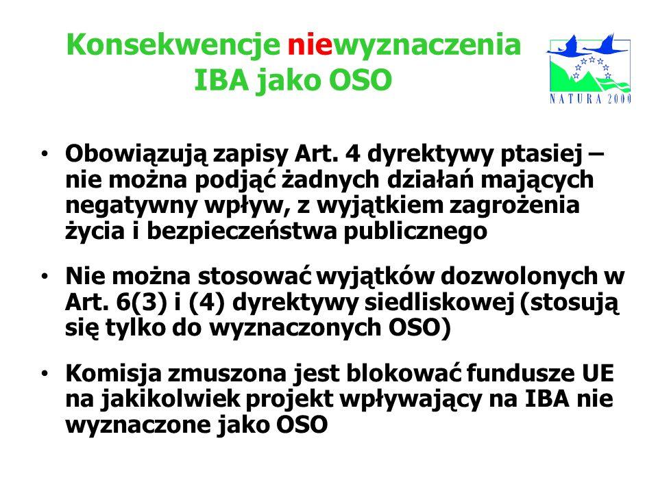 Konsekwencje niewyznaczenia IBA jako OSO
