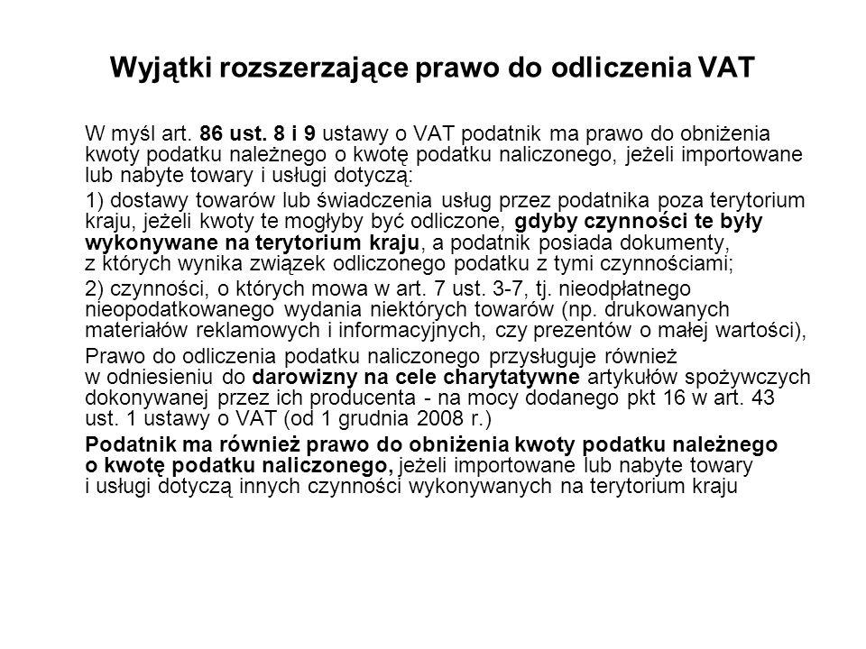 Wyjątki rozszerzające prawo do odliczenia VAT