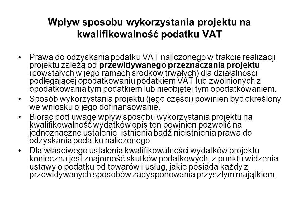 Wpływ sposobu wykorzystania projektu na kwalifikowalność podatku VAT