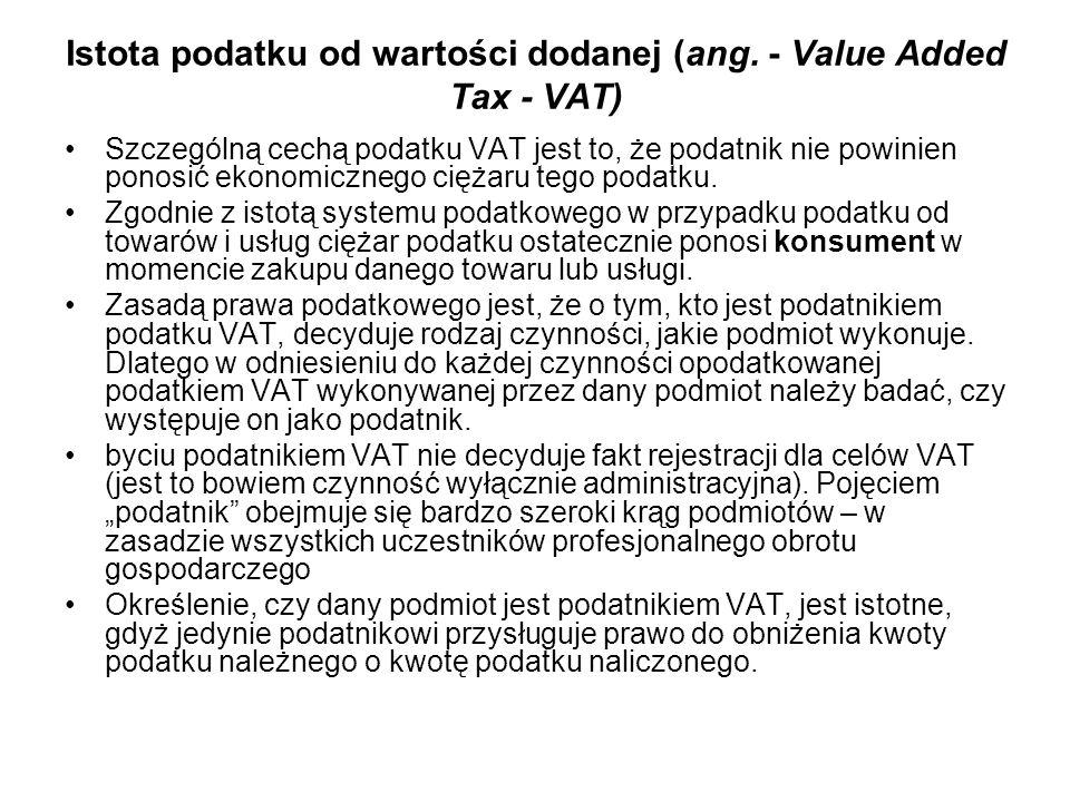Istota podatku od wartości dodanej (ang. - Value Added Tax - VAT)