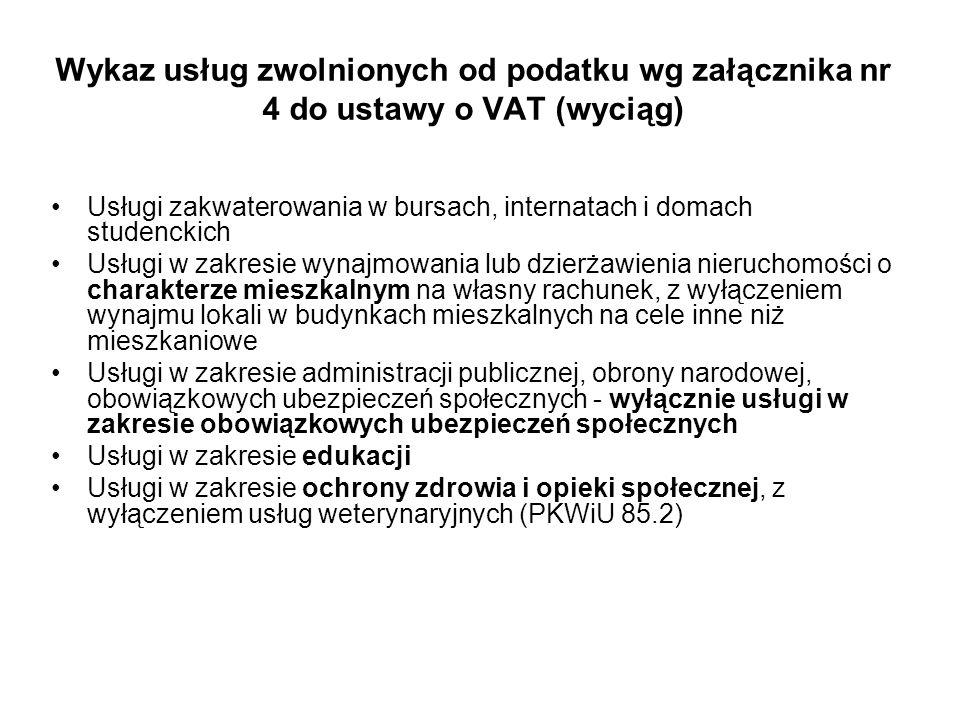 Wykaz usług zwolnionych od podatku wg załącznika nr 4 do ustawy o VAT (wyciąg)