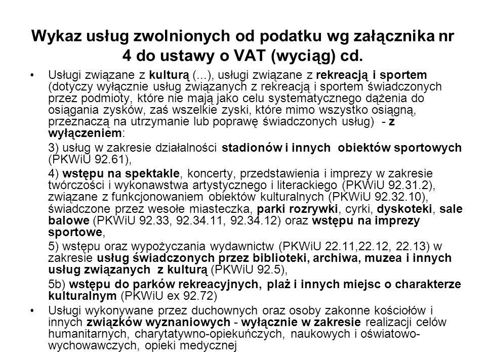 Wykaz usług zwolnionych od podatku wg załącznika nr 4 do ustawy o VAT (wyciąg) cd.