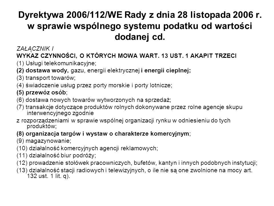 Dyrektywa 2006/112/WE Rady z dnia 28 listopada 2006 r