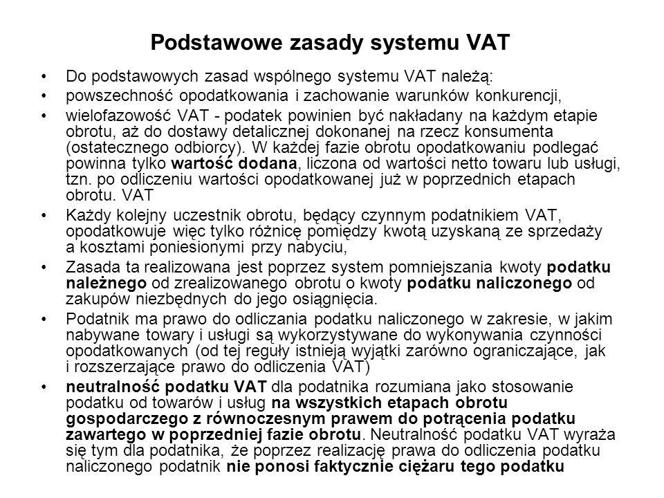 Podstawowe zasady systemu VAT