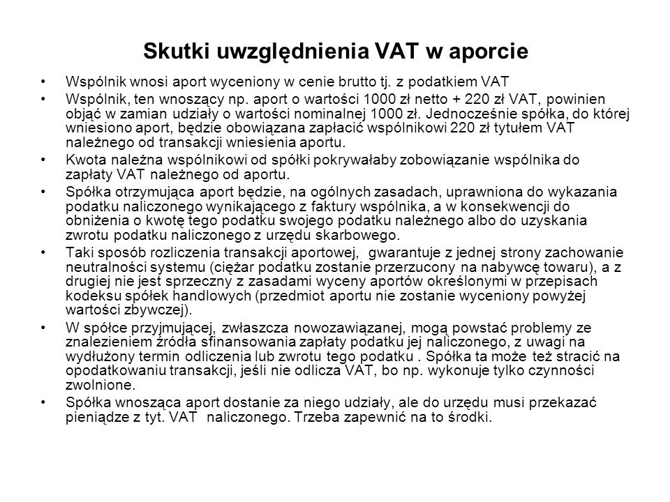 Skutki uwzględnienia VAT w aporcie