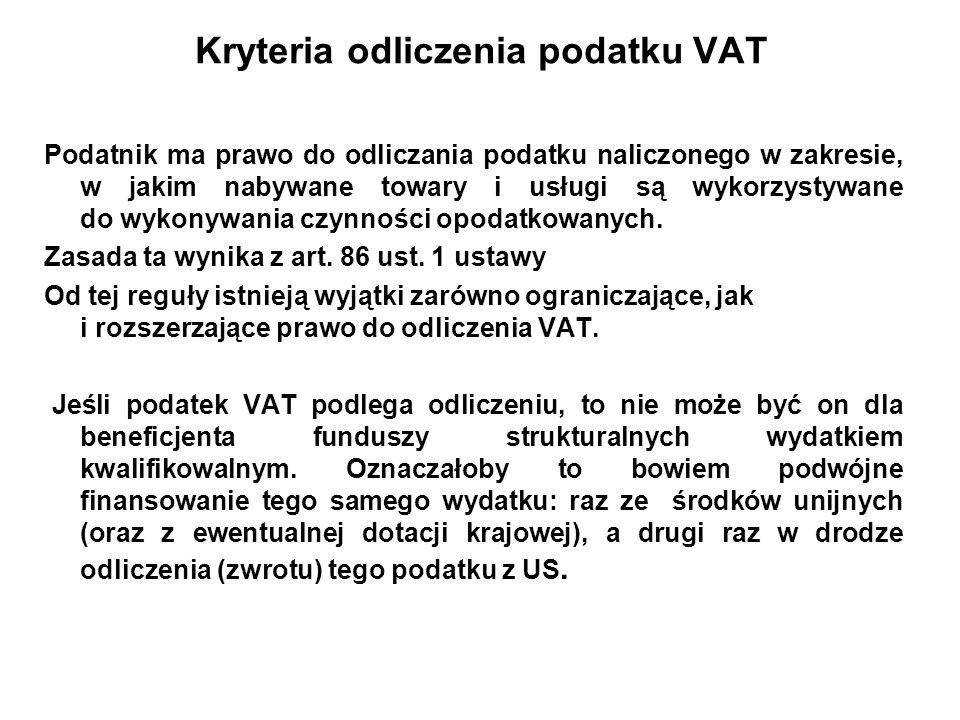 Kryteria odliczenia podatku VAT
