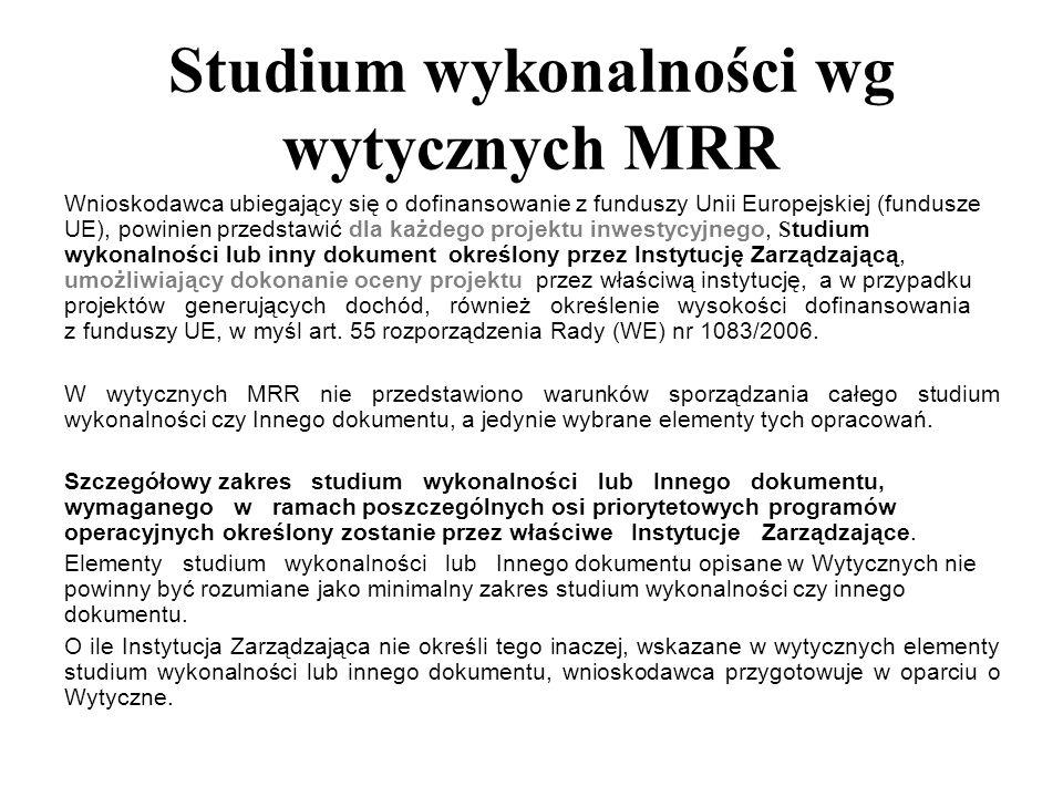 Studium wykonalności wg wytycznych MRR