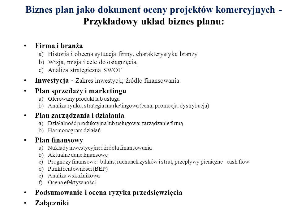 Biznes plan jako dokument oceny projektów komercyjnych - Przykładowy układ biznes planu: