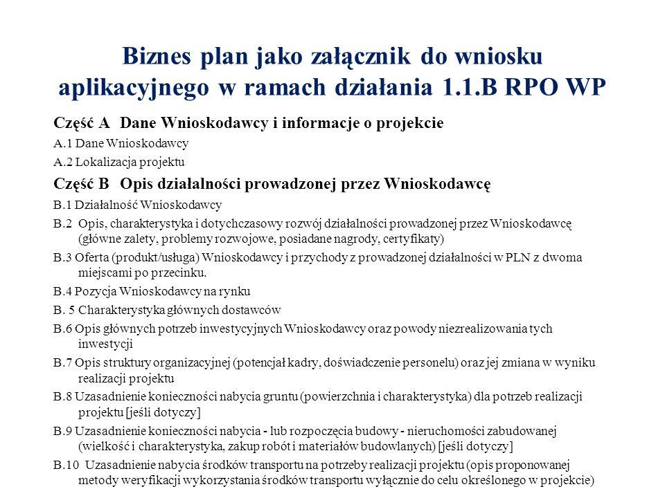 Biznes plan jako załącznik do wniosku aplikacyjnego w ramach działania 1.1.B RPO WP