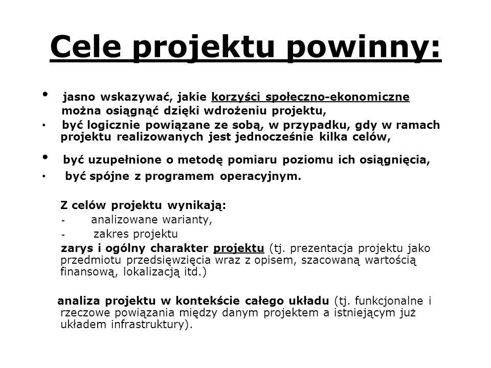 Cele projektu powinny: