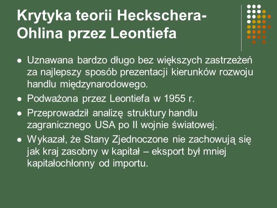 Krytyka teorii Heckschera-Ohlina przez Leontiefa