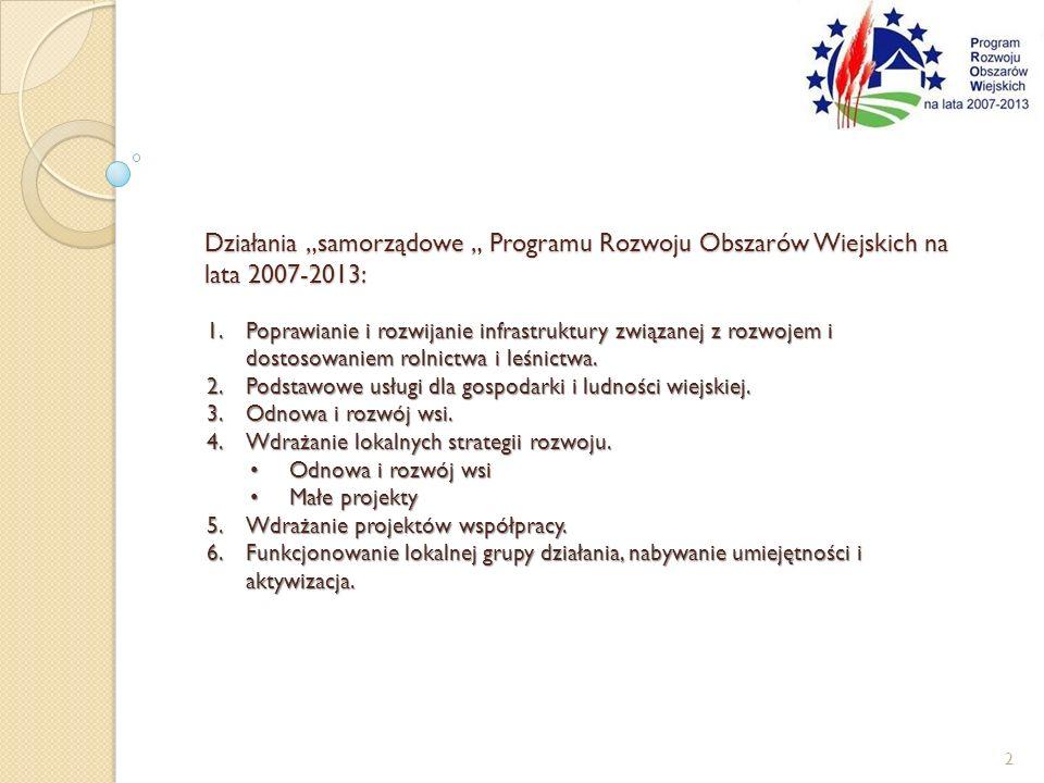 """Działania """"samorządowe """" Programu Rozwoju Obszarów Wiejskich na lata 2007-2013:"""