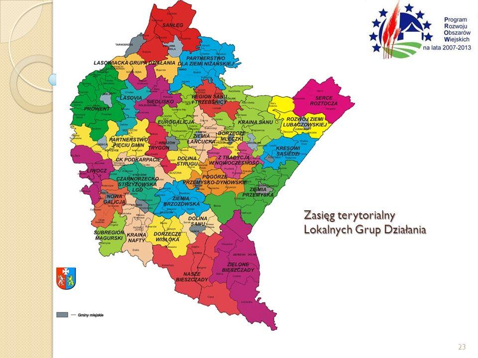 Zasięg terytorialny Lokalnych Grup Działania