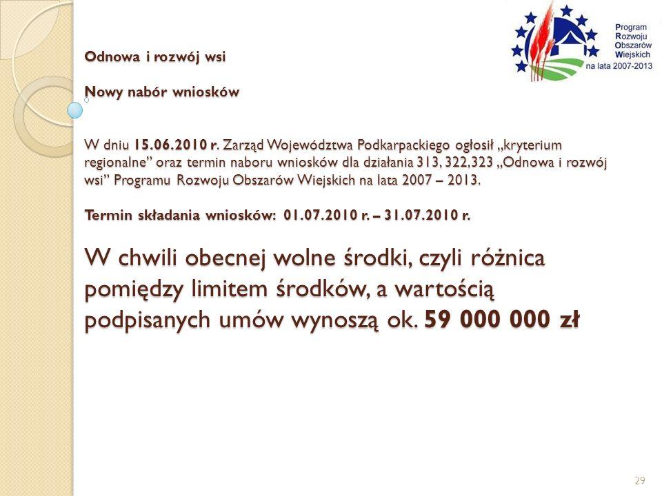 Odnowa i rozwój wsi Nowy nabór wniosków W dniu 15. 06. 2010 r