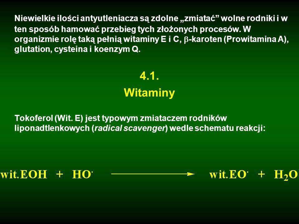 """Niewielkie ilości antyutleniacza są zdolne """"zmiatać wolne rodniki i w ten sposób hamować przebieg tych złożonych procesów. W organizmie rolę taką pełnią witaminy E i C, -karoten (Prowitamina A), glutation, cysteina i koenzym Q."""