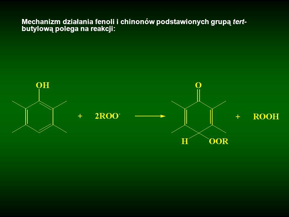 Mechanizm działania fenoli i chinonów podstawionych grupą tert-butylową polega na reakcji: