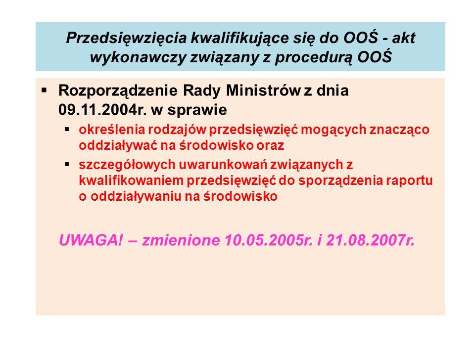 Rozporządzenie Rady Ministrów z dnia 09.11.2004r. w sprawie