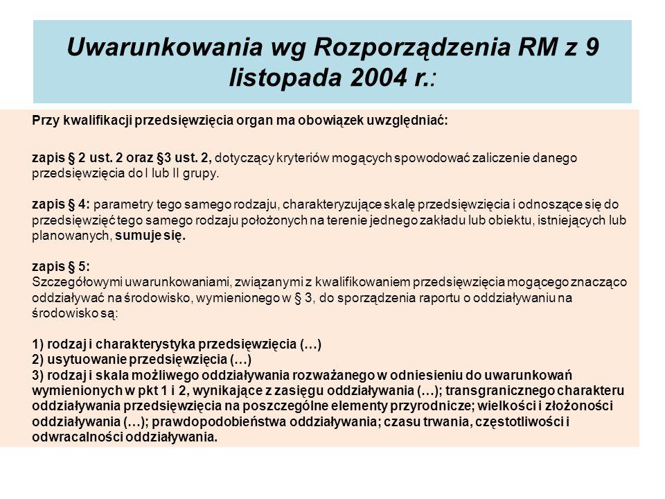 Uwarunkowania wg Rozporządzenia RM z 9 listopada 2004 r.: