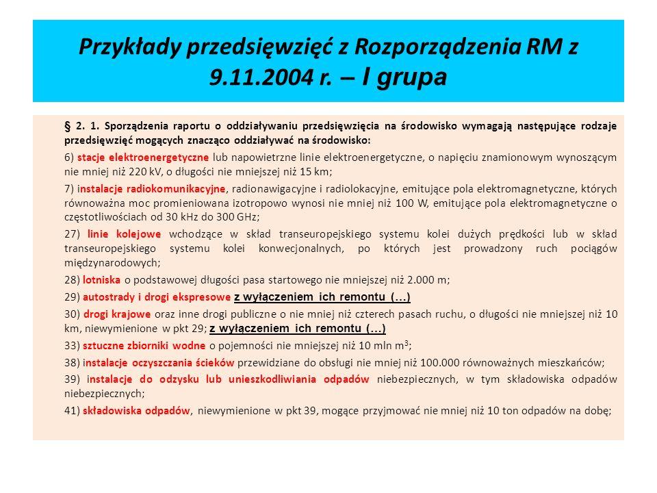 Przykłady przedsięwzięć z Rozporządzenia RM z 9.11.2004 r. – I grupa