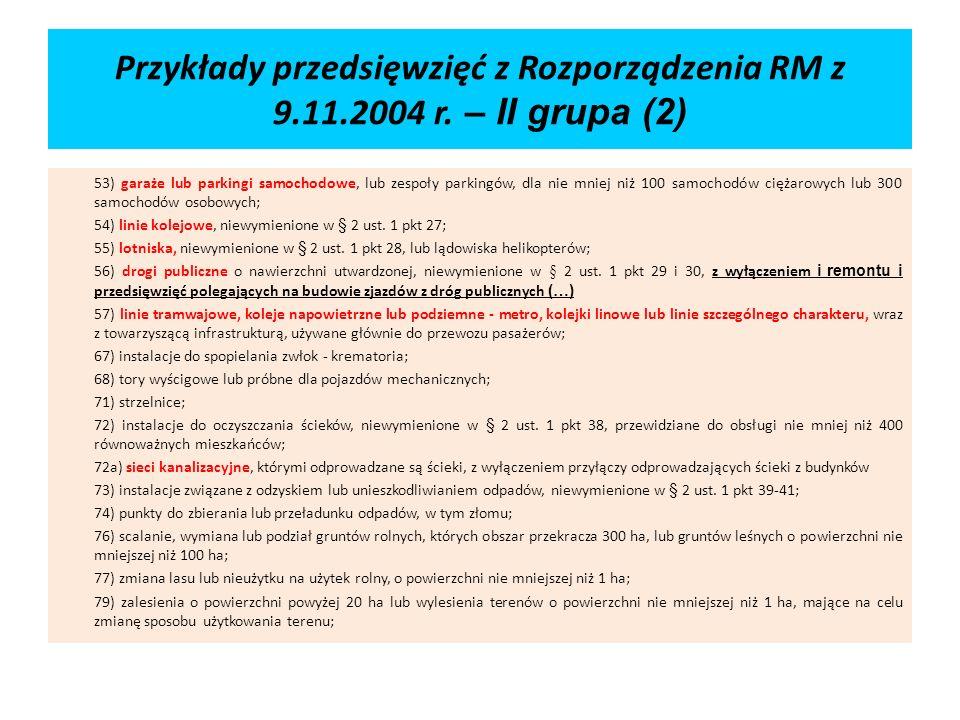 Przykłady przedsięwzięć z Rozporządzenia RM z 9. 11. 2004 r
