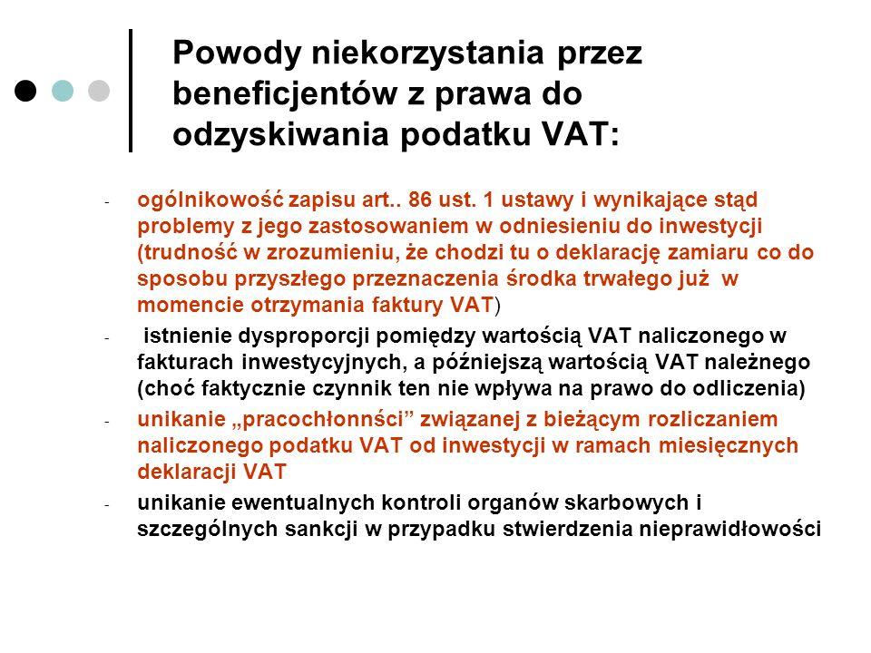 Powody niekorzystania przez beneficjentów z prawa do odzyskiwania podatku VAT: