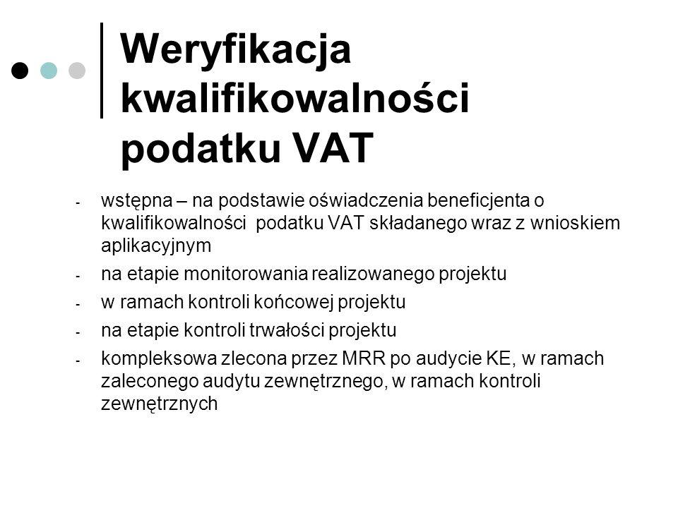 Weryfikacja kwalifikowalności podatku VAT