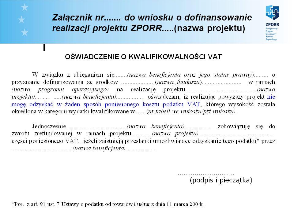 Załącznik nr. do wniosku o dofinansowanie realizacji projektu ZPORR