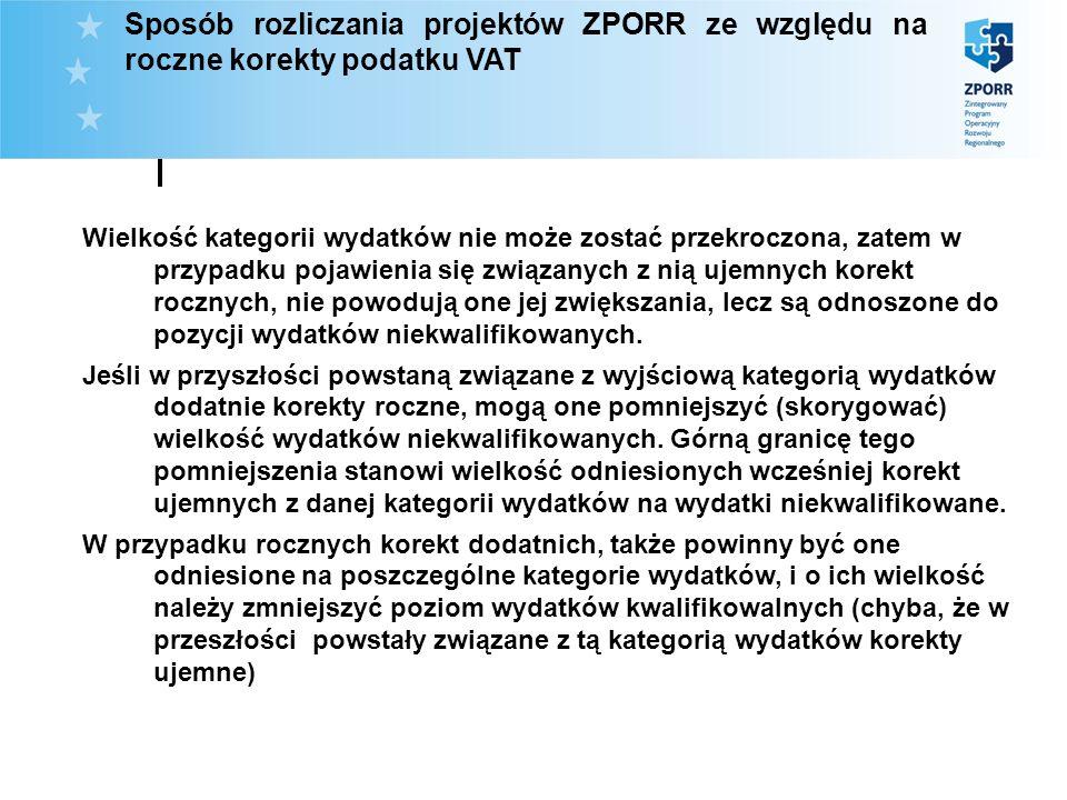 Sposób rozliczania projektów ZPORR ze względu na roczne korekty podatku VAT